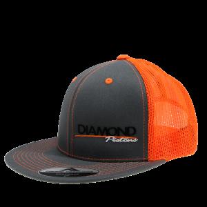 Apparel - Hats - Standard Logo Diamond Trucker Hat - One Size Fits All - Color Grey/Orange (A244)